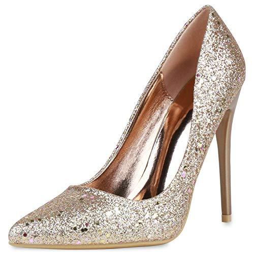 SCARPE VITA Damen Spitze Pumps High Heels Absatzschuhe Glitzer Schuhe Stiletto Elegante Party Abendschuhe Metallic 190857 Rose Gold Gold 38