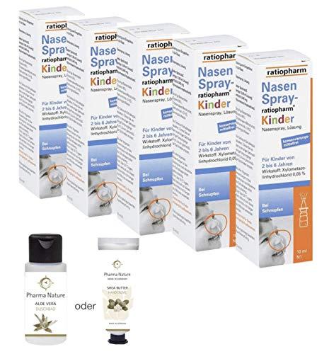 Nasenspray Ratiopharm Kinder Sparset 5 x 10 ml inkl. einer pflegenden Handcreme o. Duschbad von Pharma Nature