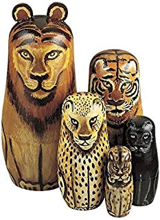 Bits and Pieces - Wild Cats - Matryoshka Dolls - Wooden Russian Nesting Dolls -- Jungle Cat Figurines - Stacking Doll Set of 5