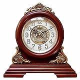 SXZHDZ Orologio da Tavolo Orologio da caminetto Legno Massello Orologio Vivente retrò Muta Classica in Legno Nonno Orologio 24 x 25,3 x 9,4cm