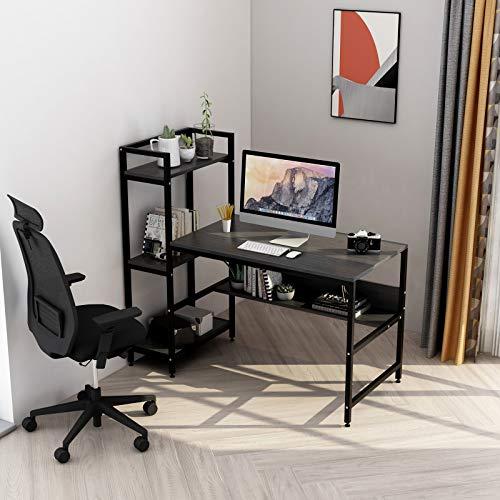 Computertisch mit 4 Ablagefächern - Schreibtisch mit Bücherregal und Turmregal für das Home Office, robuster Schreibtisch für kleine Räume, moderner einfacher Holztisch mit Stahlrahmen (schwarz)