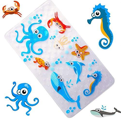 Wenhe Alfombrilla de baño con diseño de dibujos animados para bañera y ducha con ventosas para niños y bebés, 68 cm y 38 cm