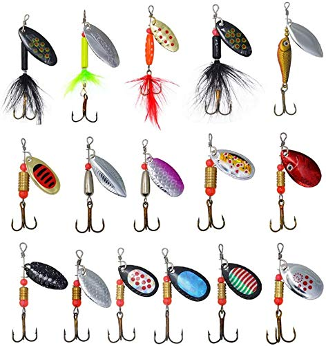 Fishing Lures– 16pcs Colorful Casting Spinner Baits Assorted Fish Hooks Metal Tackle Lures for Trout Bass Pike Salmon Walleye Fishing