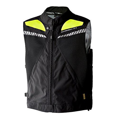 MOTOAIRBAG - Chaleco Airbag trasero y delantero, negro/neón, talla XXL/XXXL