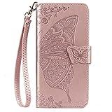 Blllue OPPO F11 - Funda tipo cartera compatible con OPO F11, diseño de flores y mariposas, color oro rosa