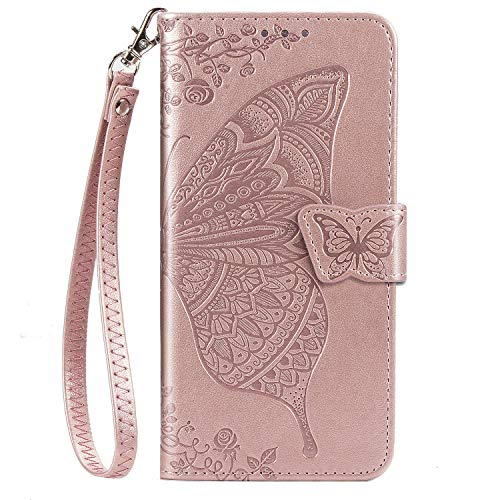 JZ Butterfly & Flower Funda For para Xiaomi Redmi Note 7 Embossed Series Wallet Flip Cover with [Wrist Strap] - Rose Gold