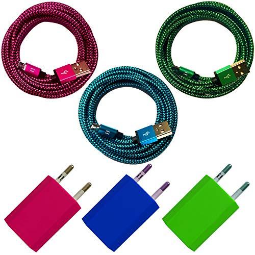 i! - Oplader + nylon micro USB-oplaadkabel datakabel set voor mobiele telefoon tablet smartphone - kleurrijk 3x 2m Premium blauw + groen + roze.