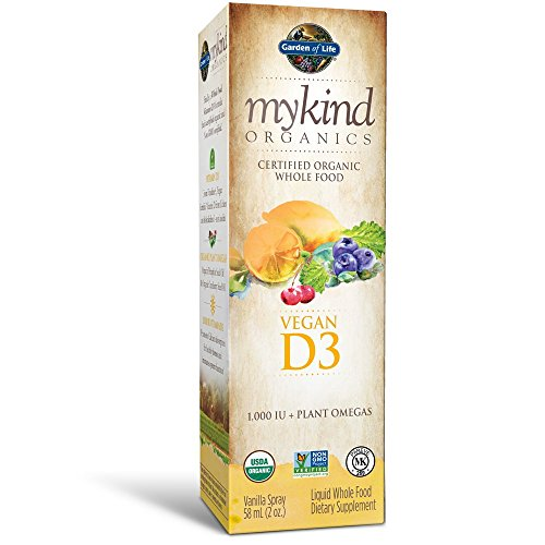 Garden of Life D3 Vitamin - Mykind Organic Whole Food Vitamin D Supplement with plant Omegas, Vegan, Vanilla 2 Fl Oz