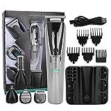 Cortadora de cabello eléctrica 6 en 1, cortadora de cabello, kit de cortadora de barba cortadora de barba afeitadora afeitadora de barba recargable para salón con carga por USB