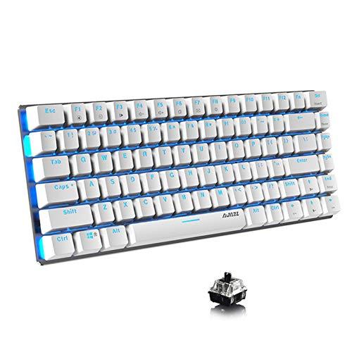 Lomi-luskr AK33 Teclado mecánico con cable, 82 teclas, compacto teclado mecánico para juegos con teclas antighosting, pequeño y portátil (interruptor negro/luz de fondo azul, blanco)