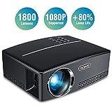 Vidéoprojecteur, TOQIBO HD 1080P 1800 Lumens Led Mini LCD Projecteur de Cinéma Privé, Projecteur Portable avec Support HDMI / VGA / AV / 2 Port USB PC Ordinateur Xbox TV, idéal pour le Jeu Vidéo, pour