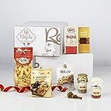RE REGALO Kit Degustación PICCOLA ITALIA Cesta 7 piezas Chocolate, jaleas de frutas, cantucci, salsa de tomate y champiñones porcini, verduras a la plancha, taralli de Puglia y Pasta