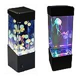 LED Mini réservoir de poissons Boîte à lumière de l'eau Ballon d'eau Aquarium méduse Lampe chevet Cabinet éclairage...
