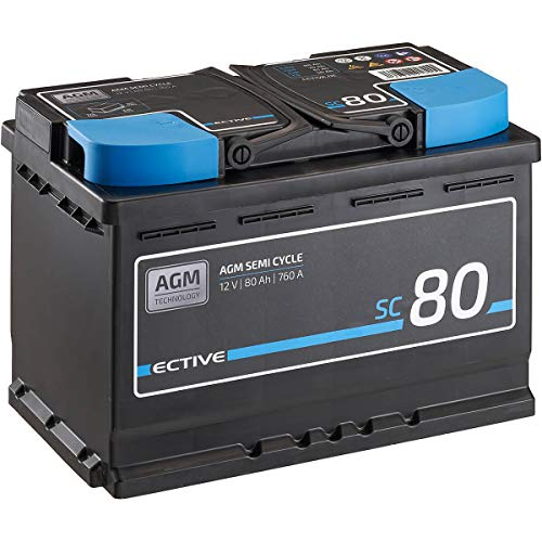 ECTIVE 12V 80Ah zyklenfester AGM Blei-Akku Versorgungsbatterie VRLA Semi Cycle SC80 wartungsfrei