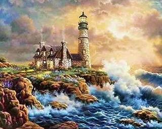 Farsla Crashing Waves Lighthouse 5D Diy Round Diamond Painting by Number Kit Mosaics Rhinestone seaside Ocean house Painting for Wall Decor 12X16inch
