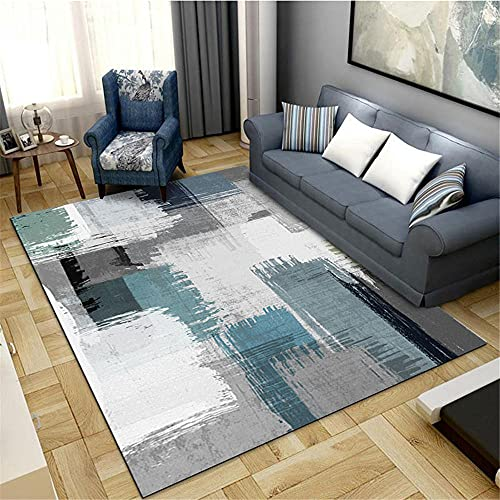 alfombra cuadrada Alfombra azul claro, patrón de tinta Almohadilla de rastreo Anti-upos Fácil Mecanismo de limpieza de vacío Alfombra alfombras pasillo largas y modernas -azul claro_180x200cm