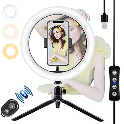YATWIN 10.2 Zoll Selfie Ringleuchte Handy Stativ mit Fernbedienung,Selfie RingLicht mit 3 dimmbare Lichtmodi und 10 Helligkeitsstufen für Schöne Fotos, oder Videosschooting, live Streaming usw.