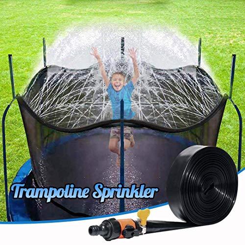 034 Trampolín rociadores Niños Spray de Juego PE Tubo de la Boquilla estándar Americano Verano al Aire Libre del Parque acuático de riego para Niños Niñas,15M