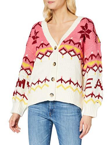Tommy Jeans Damen Tjw Fairisle Cardigan Pullover, Schneewittchen/Multi, XS