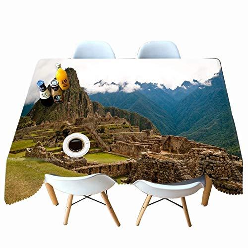 XXDD Rectángulo de Mantel con patrón de Paisaje de Lago 3D para Cocina Mesa de Comedor Mantel Impermeable y a Prueba de Polvo A3 140x180cm