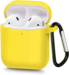 AirSha Compatible for AirPods Case with Keychain,[Support Wireless Charging],Shockproof Protective Silicone Cover Skin for AirPods Charging Case 2 & 1 (Yellow)