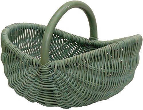 Einkaufskorb/Bügelkorb/Shopper aus echtem Rattan, Henkel- Trage-Korb leicht und stabil (Grün)