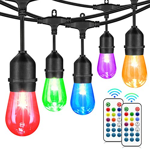 48FT Color Changing Outdoor String Lights, RGB Cafe LED String Lights with 18 E26 S14 Shatterproof Edison Bulbs, Commercial Grade Dimmable String Lights for Patio Backyard Garden, 2 Remote Controllers