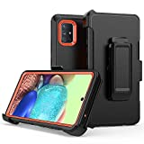 Samsung Galaxy A71 5G case,Heavy Duty Hard Shockproof Protector Shield Case Cover with Belt Clip Holster for Samsung Galaxy A71 6.7 inch Phone 5G Version (Black+Orange)