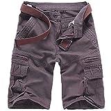 WSLCN Homme Eté Cargo Shorts Bermuda Pantacourt Vintage Short de Sport Outdoor Shorts sans Ceinture C-Gris FR 44 (Asie 36)