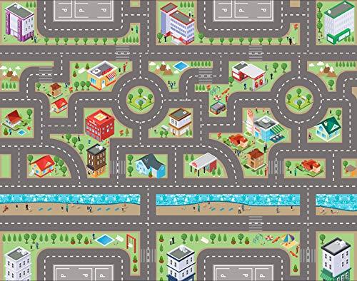 E EVENTUAL – Alfombra Vinilo Infantil de Juguete PVC – Alfombra Vinílica Infantil para Juegos de niños Antideslizante – Moqueta Infantil Circuito PVC Impresa Lavable de Ciudad con Carreteras