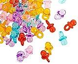 EUFANCE 100 Piezas Mini Chupete Decorativo para la Fiesta de Bienvenida al bebé, Accesorio Colgante Decorativo, Hecho de acrílico - 2 cm - Colorido