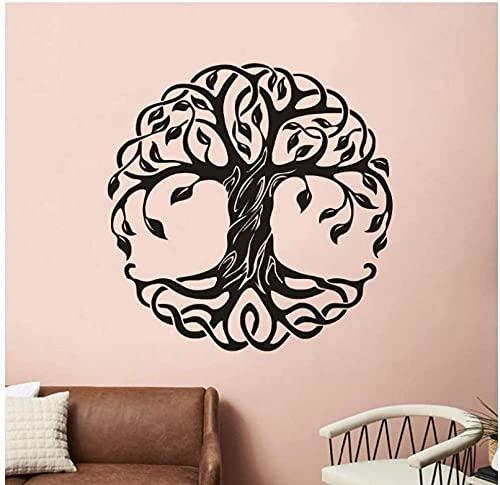 Mandala círculo árboles vinilo pared calcomanías decoración del hogar fitness yoga árbol etiqueta de la pared árbol de la vida yoga estudio pared murales 42x42cm