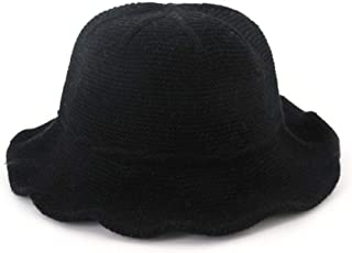MZHHAOAN Knit Hat Autumn and Winter Korean Version of The Basin Cap Line Cap Foldable Simple Monochrome Fisherman Cap,Navy,One Size