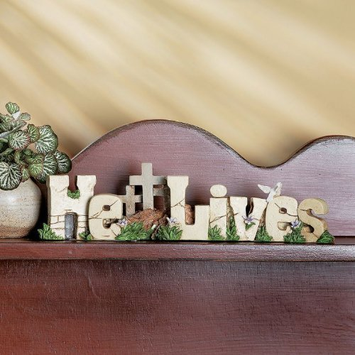 """He Lives"" Table Top Decor Jesus Christ Resurrected Easter Cross Decor Home Accent Inspirational Sign Decoration"
