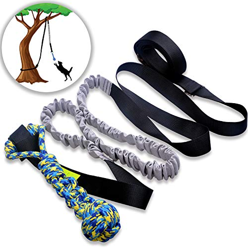 LOOBANI Dog Outdoor Bungee Hanging Toy,Interactive Tether Tug Toy for...