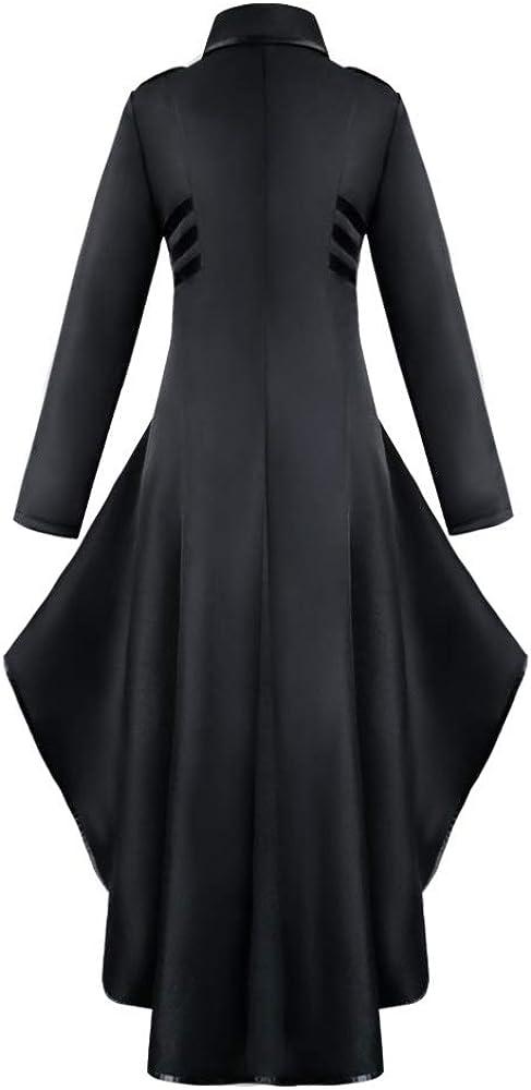 Rera Damen Herbst Vintage Viktorianische Gothic Jacke Frack Mit Lace Trim Button Elegante Langarm unregelmäßige Lange Steampunk Mantel Schwarz B