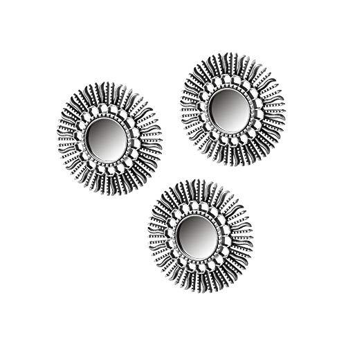 Set de Espejos Sol de plástico Plateado Moderno para decoración Sol Naciente - LOLAhome