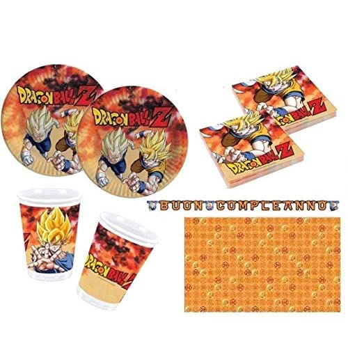Little Flight Dragon Ball Z Goku e Vegeta Coordinato ADDOBBI TAVOLA Festa A Tema per 16 Bambini Kit(16 Piatti,16 Bicchieri,20 TOVAGLIOLI,1 TOVAGLIA,1 Festone)