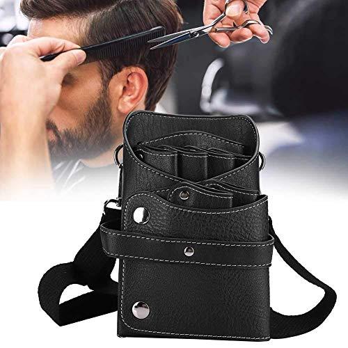 Custodia per forbici fondina con cintura per parrucchiere/parrucchiere/pettini per barbiere strumenti per parrucchiere custodia per cintura, durevole utile in pelle PU(Nero)
