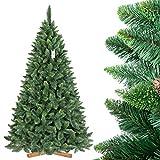 FairyTrees Árbol de Navidad Artificial Pino, Natural Verde, Material PVC, Las piñas verdaderas, el Soporte de Madera, 220cm, FT03-220