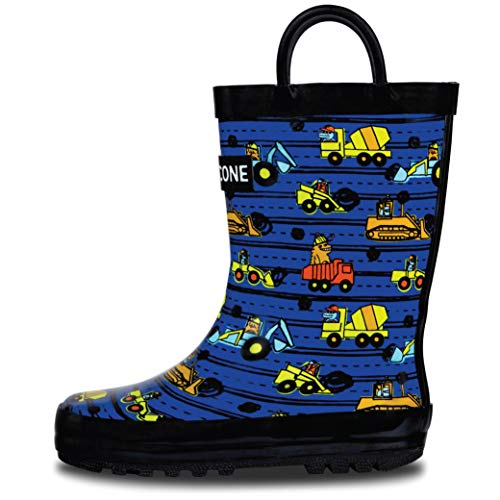 LONECONE Rain Boots with Easy-On Handles in Fun Patterns for Toddlers and Kids, Construction Monsters, 9 Toddler
