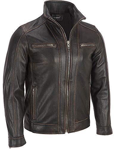 Chaqueta de Superior Leather Garments, con remaches de color negro, cuero vacuno auténtico, costura visible, para hombre Negro negro Large-Para Persona De Pecho 104 cm