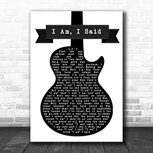 Ik Am, Ik Zei Zwart & Wit Gitaar Song Lyrische Quote Muziek Poster Print Large A3