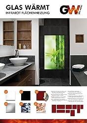 Infrarotheizung Infrarot 450 Watt Metall-Premium Weiss Glaswärmt Heizung inkl. Wand & Deckenmontge Set TÜV geprüft