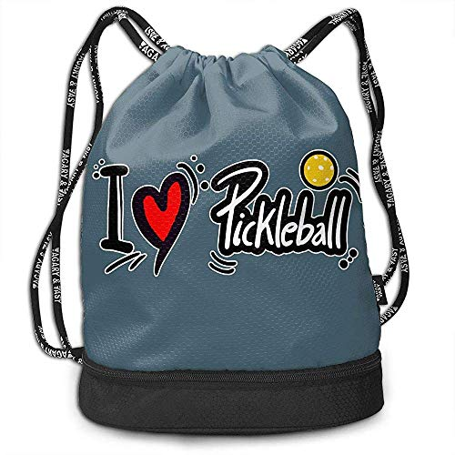 Bernie Dodd Mochila con Cordón Mochila con Cordón Sport Gym Sackpack Mochila con Cordón Mochila Sport Gym Sackpack I Love Pickleball Bags