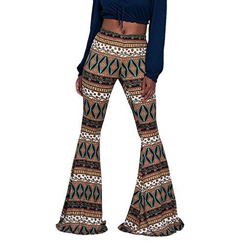 Petalum Damen Hose Boho Hippie Blumen Schlaghose High Waist Weites Bein Palazzo Halloween Karneval Cosplay Kostüm