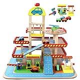 MAJOZ0 Aparcamiento de madera de 3 pisos con elevador, garaje de aparcamiento con 4 minicoches deportivos, garaje de madera, juguete, regalo para niños