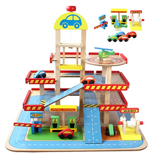 OVERWELL Kids Wooden Parking Garage set , Large Multilayer 3D Garage with 4 Wooden Cars and Helicopter for Boys and Girls