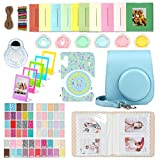 WOGOZAN Accessories Kit for Fujifilm Instax Mini 11 Instant Camera (Custom Case with Strap + Assorted Frames + Photo Album + 60 Colorful Sticker Frames + More) (Sky Blue