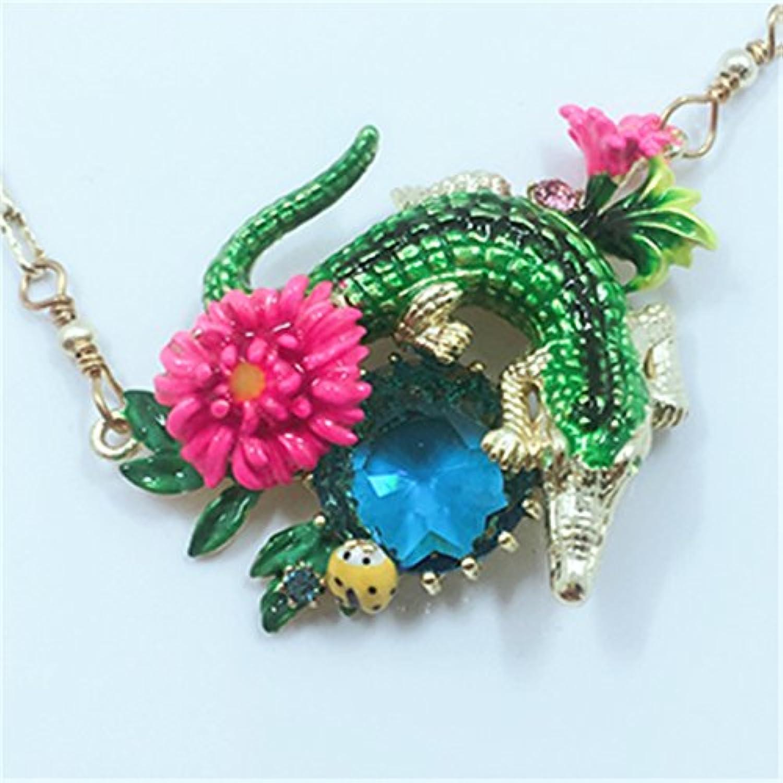 French Enamel Jewelry Marine Crocodiles Beautiful Sapphire Necklace Pendant Chain Clavicle